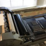 Image of a textblock ready for printing on the Vandercook Press